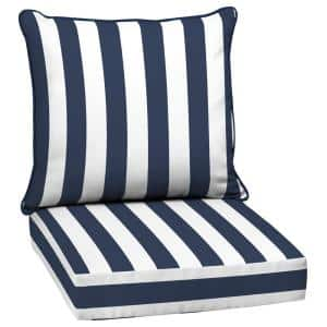 24 in. x 22.5 in. Sapphire Cabana Stripe 2-Piece Deep Seating Outdoor Lounge Chair Cushion