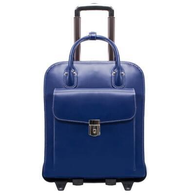 Mcklein La Grange 15 in. Navy Top Grain Cowhide Leather Patented Detachable Wheeled Ladies Laptop Briefcase