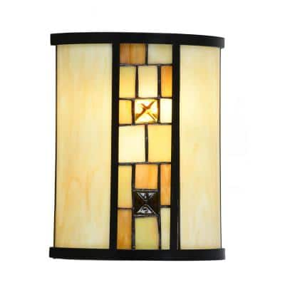 Sundance 9.75 in. Tiffany Bronze Integrated LED Wall Sconce with Hand Rolled Art Glass Shade