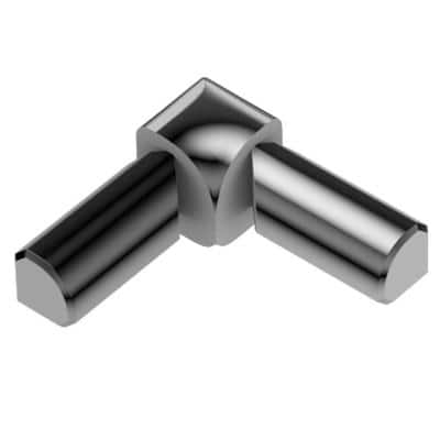 Rondec Polished Chrome Anodized Aluminum 1/2 in. x 1 in. Metal 90° Double-Leg Inside Corner