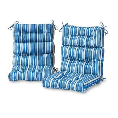 Sapphire Stripe Outdoor High Back Dining Chair Cushion (2-Pack)