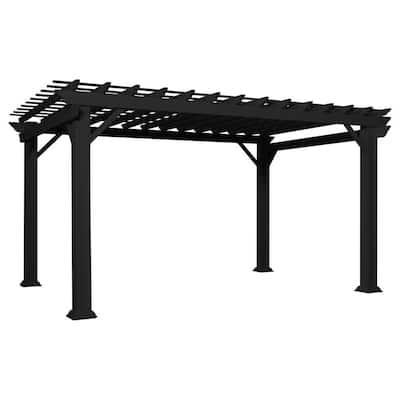 Stratford 14 ft. x 10 ft. Black Steel Traditional Pergola