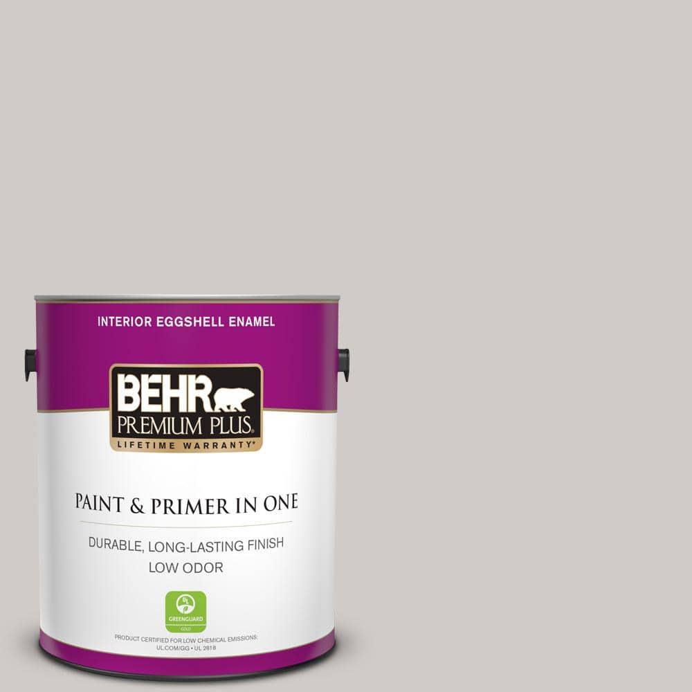 Behr Premium Plus 1 Gal Home Decorators Collection Hdc Nt 20 Cotton Grey Eggshell Enamel Low Odor Interior Paint Primer 205001 The Home Depot