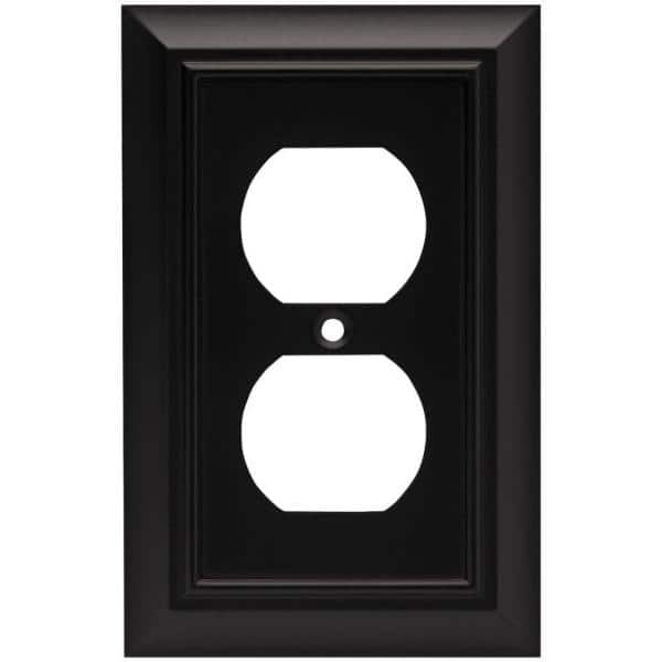 Liberty Black 1 Gang Duplex Outlet Wall Plate 1 Pack 64218 The Home Depot