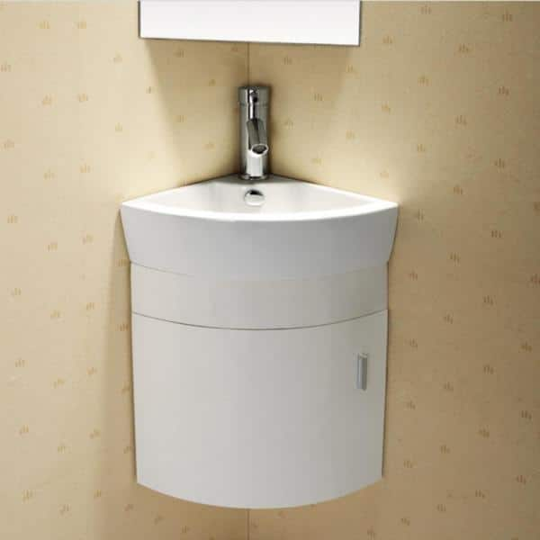 Elanti 17 5 In Vanity Cabinet With Porcelain Wall Mounted Corner Bathroom Sink In White Ec9808p Sv The Home Depot