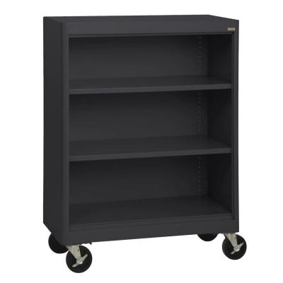 48 in. Black Metal 3-shelf Cart Bookcase with Adjustable Shelves