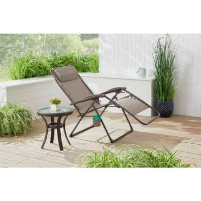 Mix and Match Dark Taupe Folding Zero Gravity Steel Outdoor Patio Sling Chaise Lounge Chair in Riverbed Taupe Tan