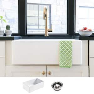 Bradstreet II Farmhouse Fireclay 30 in. Single Bowl Kitchen Sink in Crisp White with Disposal Drain