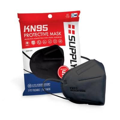 KN95 Protective Face Mask GB2626 Standard, Black (5-Pack)