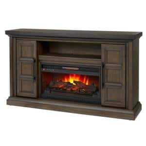 Halwell 63 in. Media Console Infrared Electric Fireplace in Warm Brown with Espresso Top