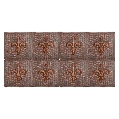 4 in. x 4 in. Hammered Copper Fleur De Lis Decorative Wall Tile in Oil Rubbed Bronze (8-Pack)