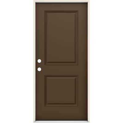 36 in. x 80 in. Right-Handed 2 Panel Square Dark Chocolate Fiberglass Prehung Front Door