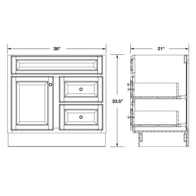 Hampton 36 in. W x 21 in. D x 33.5 in. H Bathroom Vanity Cabinet Only in Natural Hickory