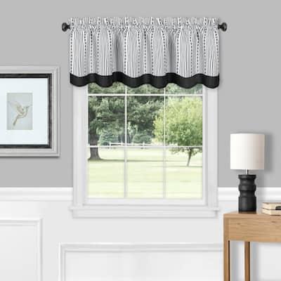 Westport 14 in. L Polyester Window Curtain Valance in Black/White