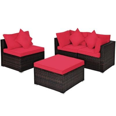 4-Piece Wicker Outdoor Sectional Set with Red Cushioned
