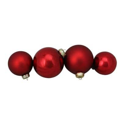 3.25 in. to 4 in. Shiny and Matte Red Glass Ball Christmas Ornaments (72-Count)