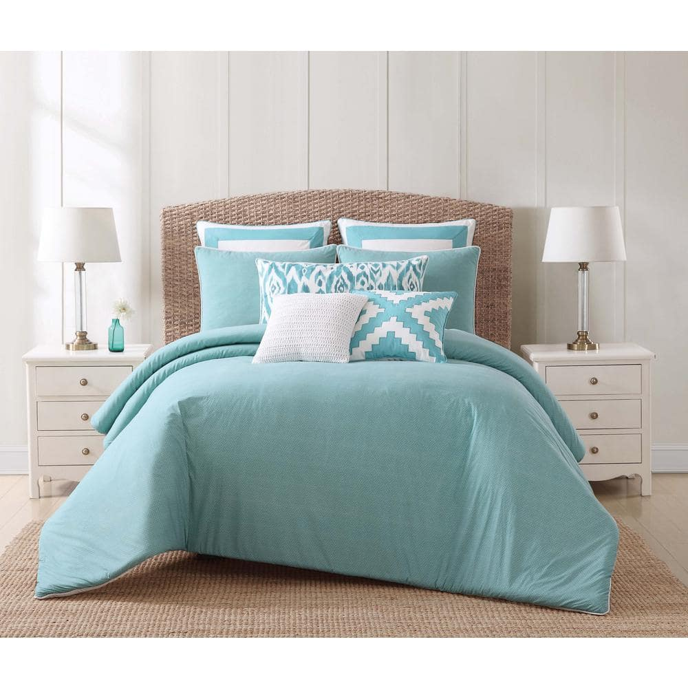 Oceanfront Resort Beach 3 Piece Teal And White King Duvet Cover Set Dcs1961kg 1800 The Home Depot
