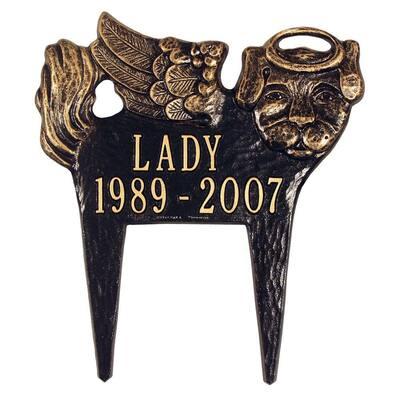 Black/Gold Angel-Dog Pet Memorial