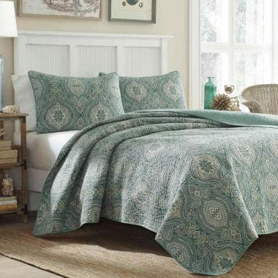 Turtle Cove 3-Piece Deep Green Paisley Cotton Full/Queen Quilt Set