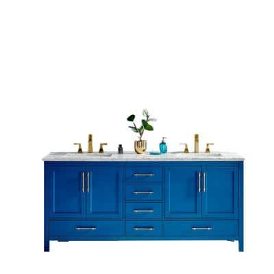 Navy 72 in. W x 22 in. D x 34.25 in. H Vanity in Blue with Carrara Marble Vanity Top in White with White Basin
