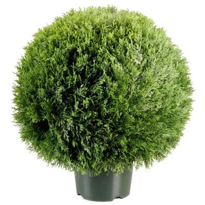 24 in. Cedar Pine Artificial Topiary in 9 in. Round Green Growers Pot