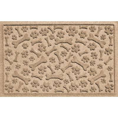 Paws and Bones Camel 18 in. x 27 in. PET Polyester Pet Mat