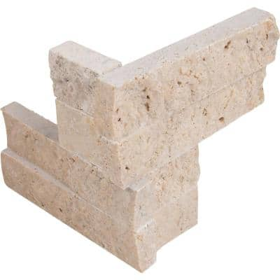 Roman Beige Ledger Corner 6 in. x 6 in. x 6 in. Natural Travertine Wall Tile (2 sq. ft./Case)
