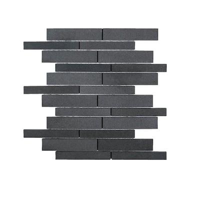 Tarmac Gray 10 in. x 12.in. Interlocking Honed Basalt Mosaic Tile (0.833 sq. ft./Each)