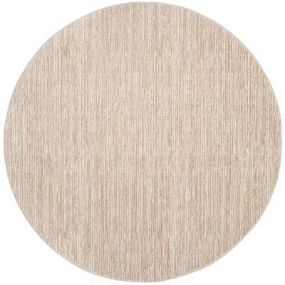 Vision Cream 9 ft. x 9 ft. Round Solid Area Rug