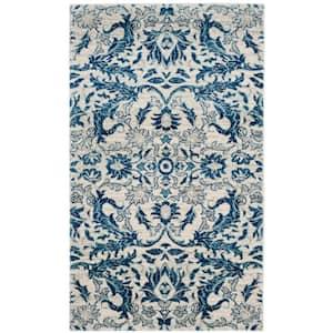 Evoke Ivory/Blue 4 ft. x 6 ft. Floral Area Rug