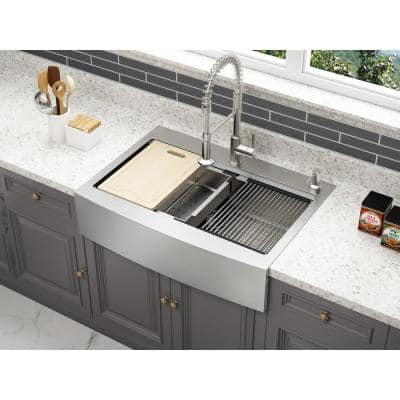 Blanchard Retrofit Workstation Dual Mount Stainless Steel 33 in. 2-Hole Single Bowl Curved Front Apron Kitchen Sink