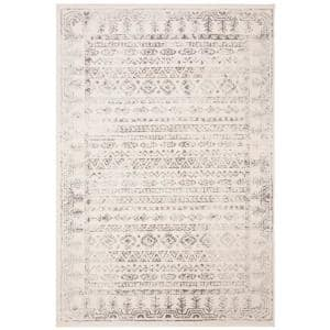 Tulum Ivory/Gray 6 ft. x 9 ft. Border Striped Distressed Area Rug