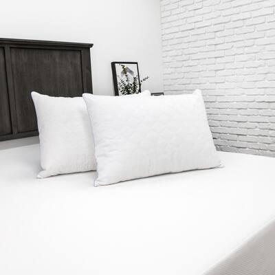 Plush Polyester Standard Jumbo Pillow with Bonus Zippered Cover (Set of 2)