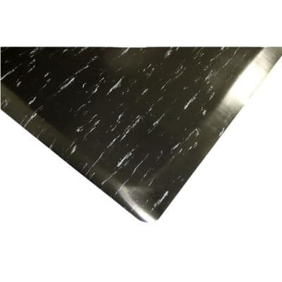 Marbleized Tile Top Anti-fatigue Mat 3 ft. x 5 ft. x 1/2 in. Black/White Commercial Mat