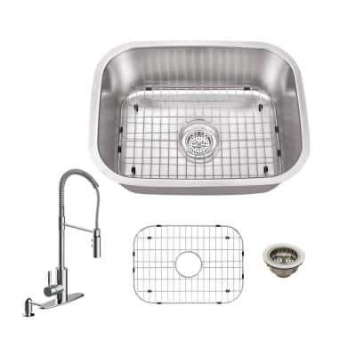 18 Gauge Stainless Steel 24 in. Undermount Bar Sink with Pull Down Kitchen Faucet