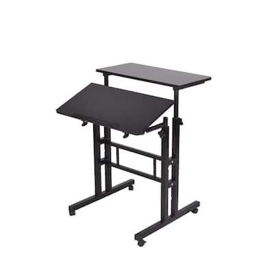 28 in. Rectangular Black Standing Desk with Adjustable Height Feature