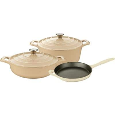 Range Collection 5-Piece Cast Iron Cookware Set in Cream