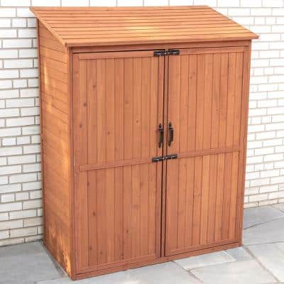 59 in. W x 29 in. D x 72 in. H Medium Brown Cypress Storage Shed with Pull Out Crates
