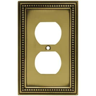 Beaded Decorative Single Duplex Outlet Cover, Tumbled Antique Brass