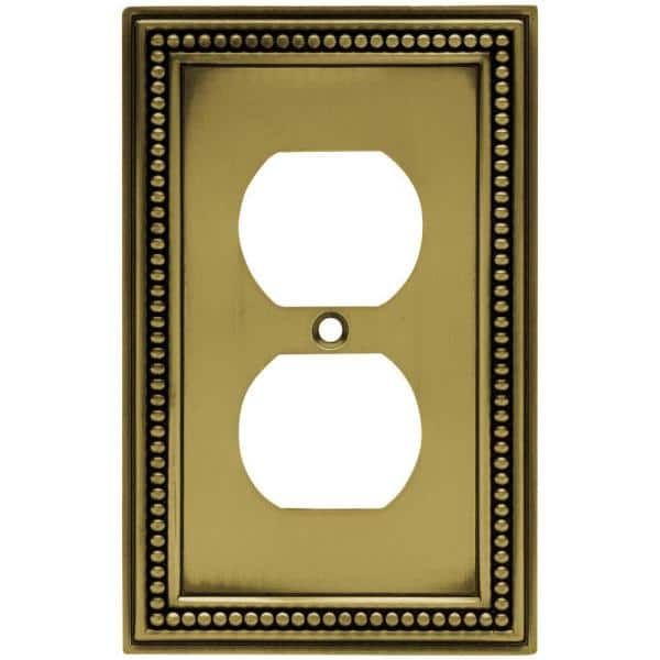 Hampton Bay Beaded Decorative Single Duplex Outlet Cover Tumbled Antique Brass W10103 Abt Uh The Home Depot