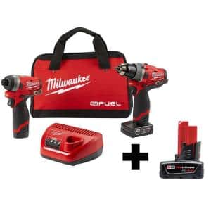 M12 FUEL 12-Volt Lithium-Ion Brushless Cordless Hammer Drill and Impact Driver Combo Kit (2-Tool)W/ Free 6.0Ah Battery