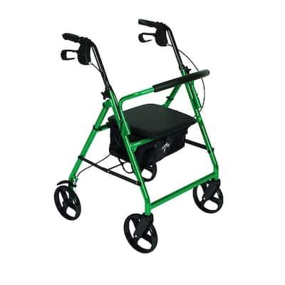 Aluminum Lightweight Folding 4-Wheel Rollator in Green
