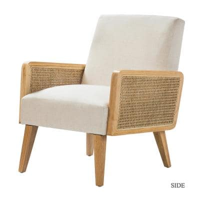 Delphine Linen Natural Legs Cane Accent Arm Chair