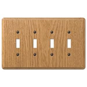 Contemporary 4 Gang Toggle Wood Wall Plate - Light Oak