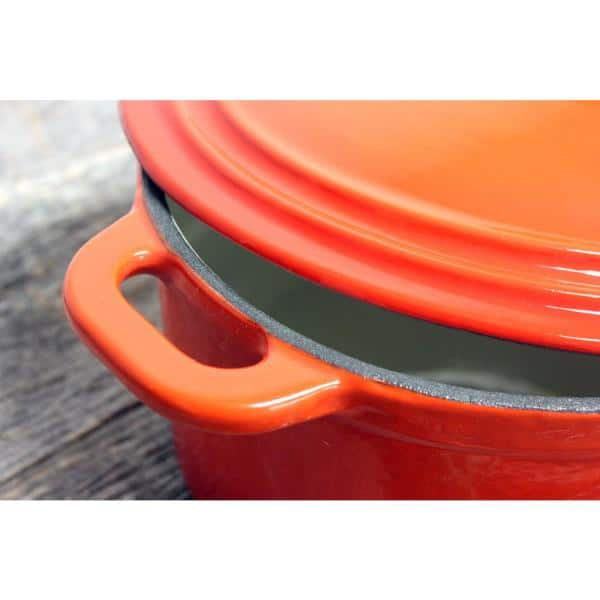 Berghoff Neo 8 Qt Oval Cast Iron Orange Casserole Dish With Lid 2211298a The Home Depot