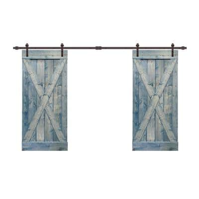 X Series 76 in. x 84 in. Pre-Assembled Denim Blue Stained Wood Interior Double Sliding Barn Door with Hardware Kit