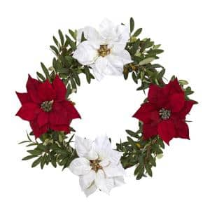 21in. Olive with Poinsettia Artificial Wreath in Green/White/Red