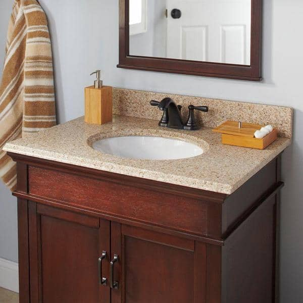 Pegasus 25 In X 22 In Granite Vanity Top In Beige With White Bowl And 4 In Faucet Spread 13682 The Home Depot