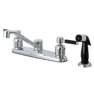 Modern 2-Handle Standard Kitchen Faucet with Side Sprayer in Chrome
