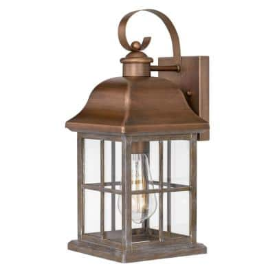 Lawrenceville 15 in. 1-Light Antique Copper Outdoor Wall Sconce Lamp
